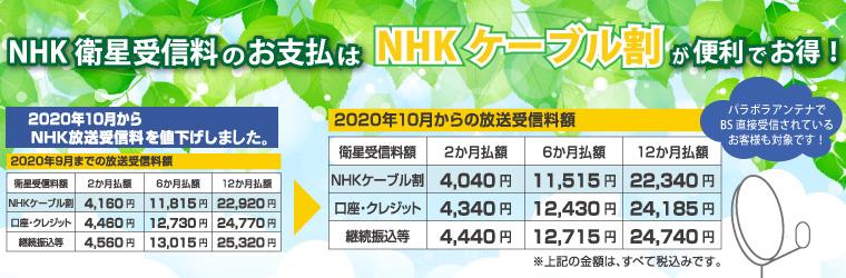 ケーブル割(NHK割引制度)2020.10~